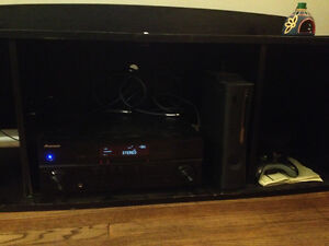 BLACK WOODEN STAND FOR RECEIVER/TV WITH SIDE CUBBIES 4ft.