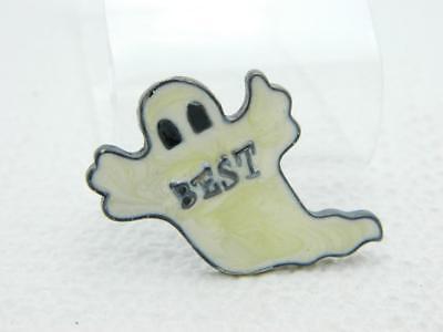 Vintage Halloween White Enamel BEST Ghost Black Tone Darlene Group Pin Brooch - Best Group Costumes Halloween