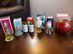 7 Vintage Avon Perfume Bottles etc, Christmas themed.