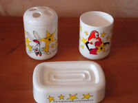 Roger Rabbit bathroom Soap Dish, Glass and Tooth Brush Holder