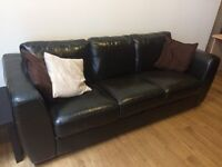 Sofa faux leather dark brown.