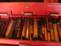 TOOL BOX WITH A WIDE  VARIETY OF PUNCHES, CHISELS, DRIFTS,