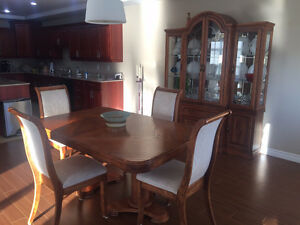 Solid Oak Large Dining Room Set with China Cabinet & Leaf
