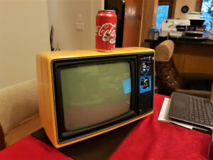 1976 Vintage Portable Sears TV-Bright Orange, Working Perfectly