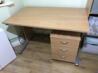 Beech Effect Desk with matching 3 Drawer Pedestal