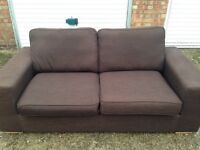 """Brown fabric two seater sofa """" free delivery """" £55"""