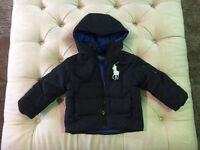 Boys / kids / toddler - Designer Polo Ralph Lauren Navy Quilted Jacket Size 2T (age 1-2).