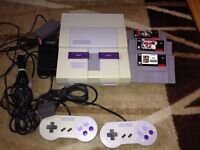 Super Nintendo Snes Whit all cable 2 controller 3 games