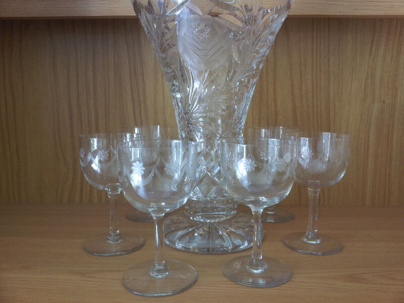 Antique crystal cut cherry glasses