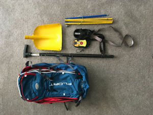 Avalanche Bag, Beacon, shovel and probe