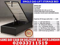 BRAND NEW SINGLE LEATHER STORAGE BED Available with Mattress Plevna
