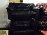 2 black leather 2 stater sofas
