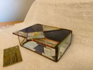 Handmade Stained Glass Jewelry Box - Clear and Amethyst Glass London Ontario image 4