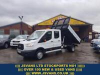 2016 66 FORD TRANSIT CUSTOM T350 DCB C/C DRW 125 BHP CREWCAB TIPPER 18000