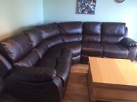 """Harvey's Brown """"leathaire"""" corner sofa with recliners"""