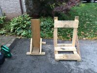 TWO CUSTOM BUILT OUTBOARD MOTOR STANDS