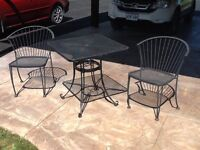 Black metal table and chairs -patio set