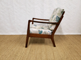 Mid century vintage lounge chair beech armchair fully restored