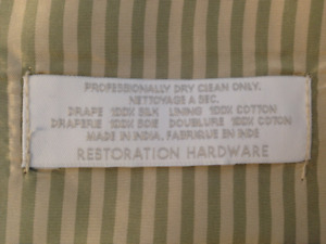 2 Panels Restoration Hardware Silk Lined Drapes