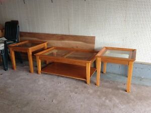 Solid Coffee Table Set with Two Matching End Tables
