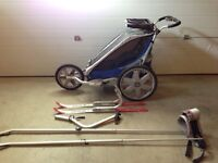 Chariot with cross country ski attachment