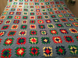 Hand Crocheted Granny Squares Throw or Blanket for Single Bed Windsor Region Ontario image 1