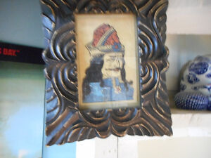 Small very old framed print of vlad the impaler