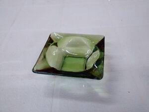 Vintage 1970s Ash Tray – Green Glass