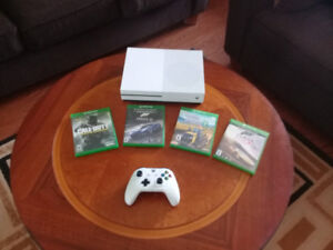 Xbox one s 1tb and white controller plus games