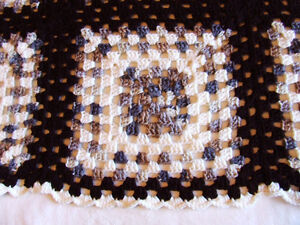 Beautiful Hand Crocheted Afghan #2 - White & Brown Tones - $50 Belleville Belleville Area image 3
