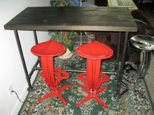 DESIGNER BAR STOOLS AND POST AND BEAM TABLE WITH STEAM PIPE LEGS