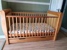 Sleigh cot bed with mattress