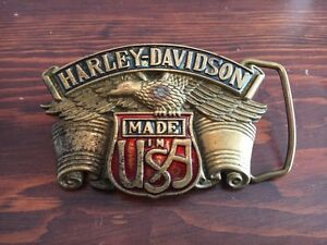 Solid Brass Harley Davidson Belt Buckle