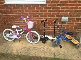 Giant bicycles and micro scooter