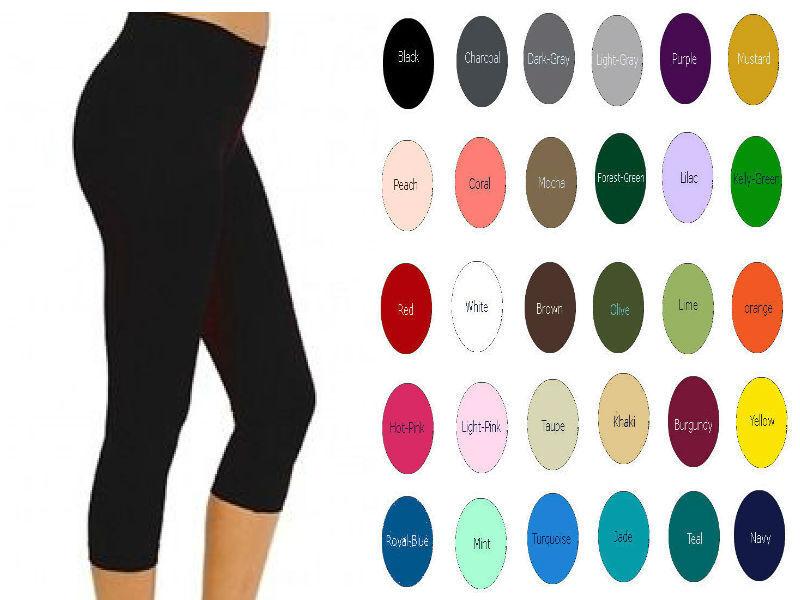 Women Premium Cotton Spandex Capri Length Leggings Yoga Crop