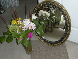 VINTAGE OVAL SYROCO TYPE GOLD AND BLACK MIRROR