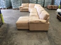 Large Tan suede corner sofa with Chez lounge