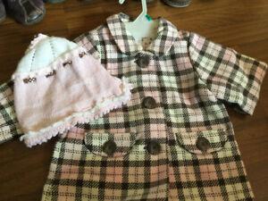 H&M 12/18 Pink Plaid Dress Coat and Hat $10