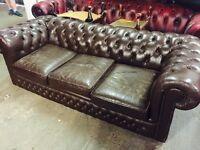 Vintage Brown leather Chesterfield 3 seater