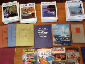 Pile of Wooden Boat Magazine and lot of boat making books