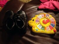 Toddler boys dress shoes and baby toy