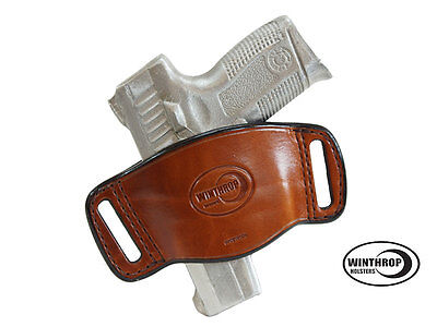 380 Leather Belt Slide Holster - Walther PK380 Ambidextrous OWB Belt Slide Leather Holster Brown