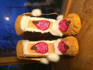 Yukon made hand beaded moose hide mukluks