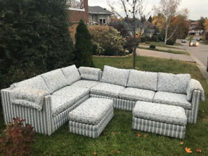 Very Large 2 piece indoor Sectional + 2 large Ottomans