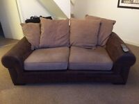 2 seater fabric sofa with storage footstool