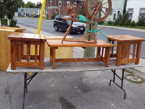 MATCHING PINE COFFEE TABLE AND END TABLES SOLID ONLY 75.00