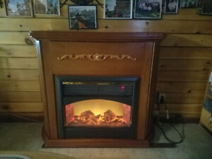 Heated Electric Fireplace with bar