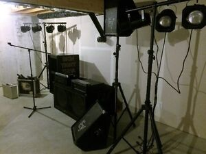 Professional grade speakers, lights, amplifiers and equipment