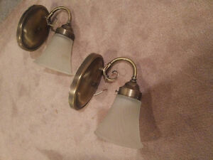 Attractive wall lamps – pair; brass