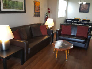 Faux Leather Sofa, Loveseat, Side Tables & Lamps